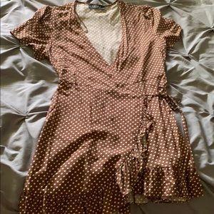 Akira tan polka side tie dress